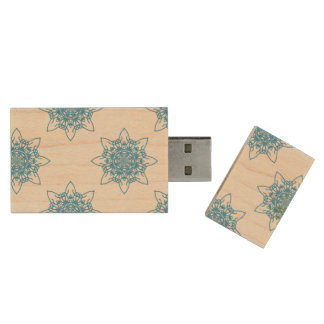 Snowflake Blue Wood USB 2.0 Flash Drive