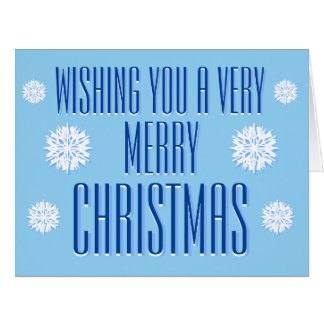 Snowflake Blue Merry Christmas Card -with greeting