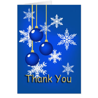 Snowflake Blue Ornaments Christmas Thank You Note Note Card