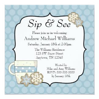 Snowflake Blue Polka Dot Sip and See Card