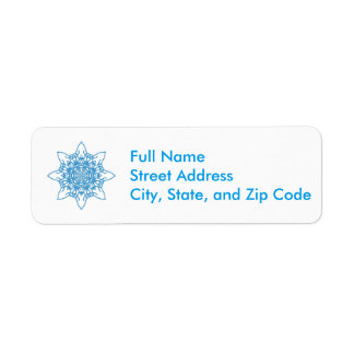 Snowflake Blue Return Address Label