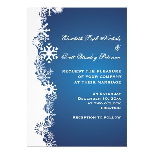 Snowflake blue white winter wedding invitation card