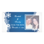 Snowflake blue white winter wedding Save the Date Photo Card