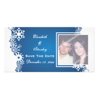 Snowflake blue white winter wedding Save the Date Picture Card