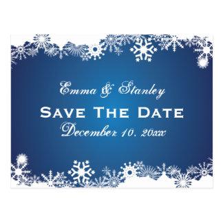 Snowflake blue white winter wedding Save the Date Postcard