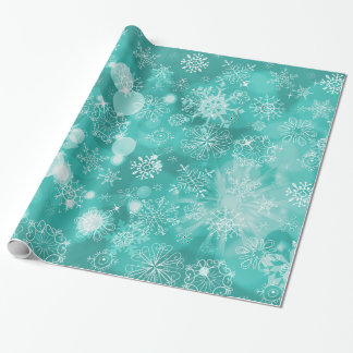 Snowflake Bokeh Teal Gift Wrap Paper