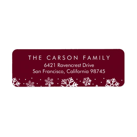Snowflake Border Holiday Return Address Labels
