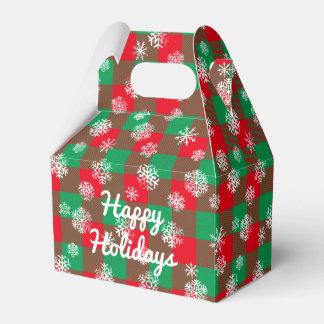 Snowflake Buffalo Plaid Christmas l Happy Holidays Favour Box