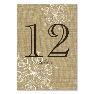 Snowflake Burlap Table Number Card