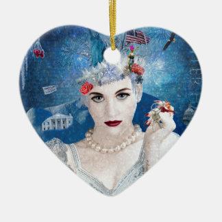 Snowflake Ceramic Heart Decoration