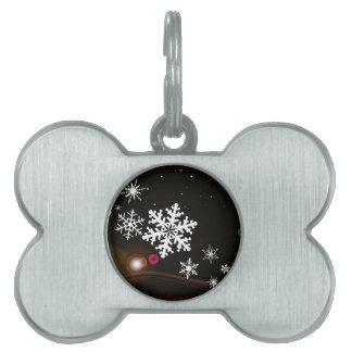 Snowflake Christmas Background Pet ID Tag
