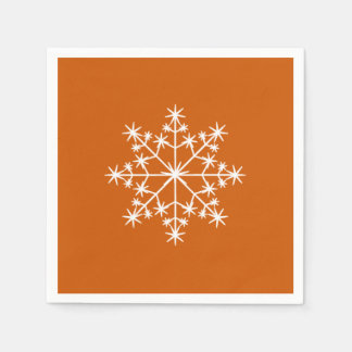 Snowflake Christmas Burnt Orange Xmas Holiday Paper Serviettes