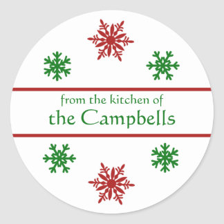 Snowflake Christmas Canning Gift Tag Round Sticker