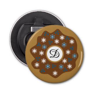 Snowflake Christmas Donut Blue Sprinkles Iced Bottle Opener