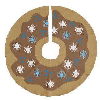 Snowflake Christmas Donut Blue Sprinkles Iced Faux Linen Tree Skirt