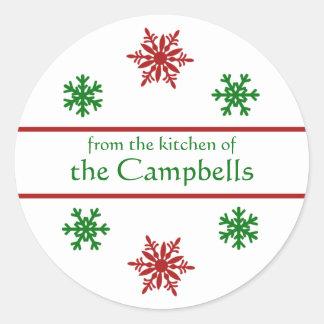 Snowflake Christmas Gift Tag Round Sticker