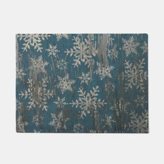 snowflake Christmas Holiday Rustic Door Mat