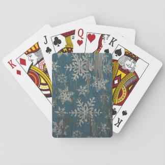snowflake Christmas Holiday Rustic playing cards