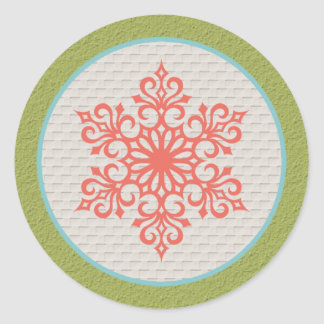 Snowflake Christmas Invitations Envelope Seals Round Stickers