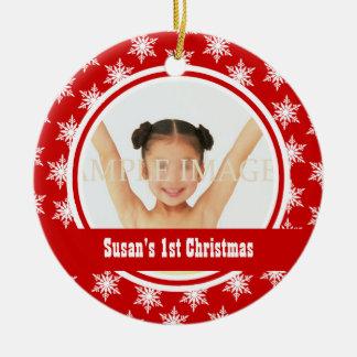 Snowflake Christmas photo personalize Round Ceramic Decoration