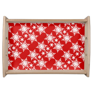 Snowflake christmas red white pattern food trays