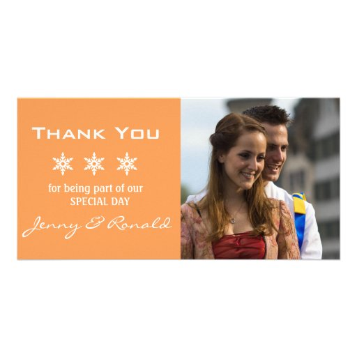 Snowflake Christmas Wedding Thank You PhotoCard Picture Card