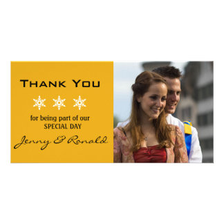 Snowflake Christmas Wedding Thank You PhotoCard Custom Photo Card
