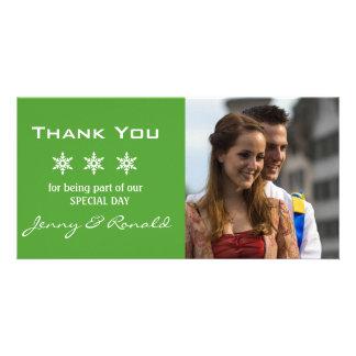 Snowflake Christmas Wedding Thank You PhotoCard Customised Photo Card