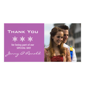Snowflake Christmas Wedding Thank You PhotoCard Personalised Photo Card
