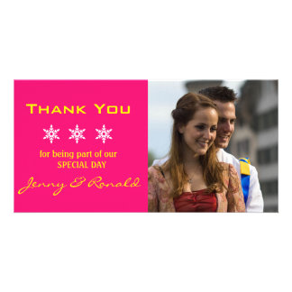 Snowflake Christmas Wedding Thank You PhotoCard Photo Card Template