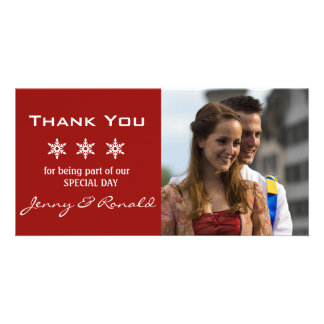 Snowflake Christmas Wedding Thank You PhotoCard Photo Greeting Card