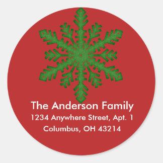 Snowflake D4b Return Address Labels Round Sticker
