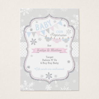 Snowflake Diaper and Tutu Baby Registration Card