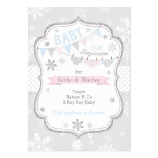 Snowflake Diaper and Tutu Baby Registration Card Pack Of Chubby Business Cards