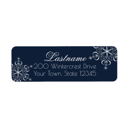 Snowflake Elegance Navy Blue Return Address Label
