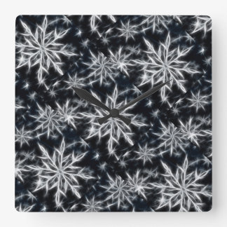 Snowflake feather look, Christmas star style small Square Wall Clock