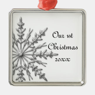 Snowflake First Christmas Together Silver-Colored Square Decoration