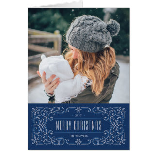 Snowflake Flourish Frame Holiday Card - Cobalt