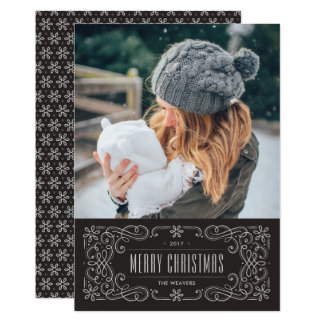 Snowflake Flourish Frame Holiday Card - Slate