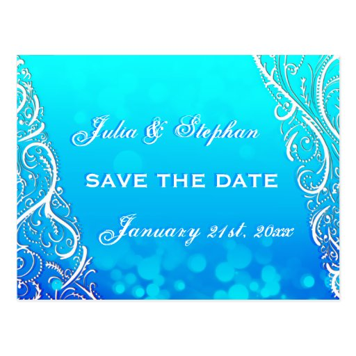 Snowflake Flourishes & Bokeh Winter Save the Date Postcard