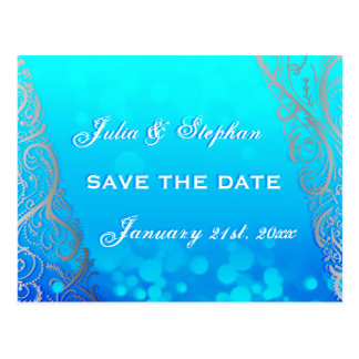 Snowflake Flourishes Bokeh Winter Save the Date Postcards