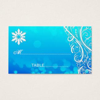 Snowflake Flourishes Winter Wedding Place Card
