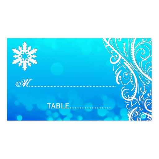 Snowflake Flourishes Winter Wedding Place Card Business Card Templates