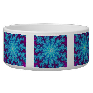 Snowflake Fractal Aqua Blue Dog Bowl
