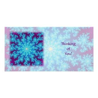 Snowflake Fractal: Aqua Blue Photo Cards