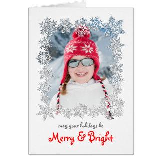 Snowflake Frame Christmas Photo Greeting Card