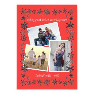 Snowflake Frame Red 3 Photos - Christmas Card