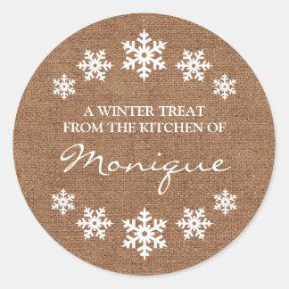 Snowflake Frame Winter Treat Label Faux Burlap Round Sticker