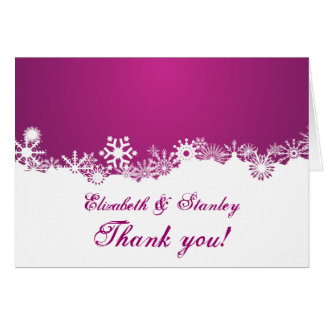 Snowflake fuchsia winter wedding Thank You Card