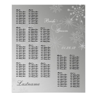 Snowflake Gem Silver Wedding Seating Chart Poster